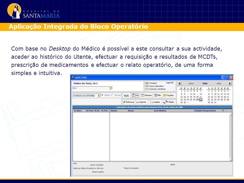 Com base no Desktop do Médico é possível a este consultar a sua actividade, aceder ao histórico do Utente, efectuar a requisição e resultados de MCDTs, prescrição de medicamentos e efectuar o relato operatório, de uma forma simples e intuitiva.