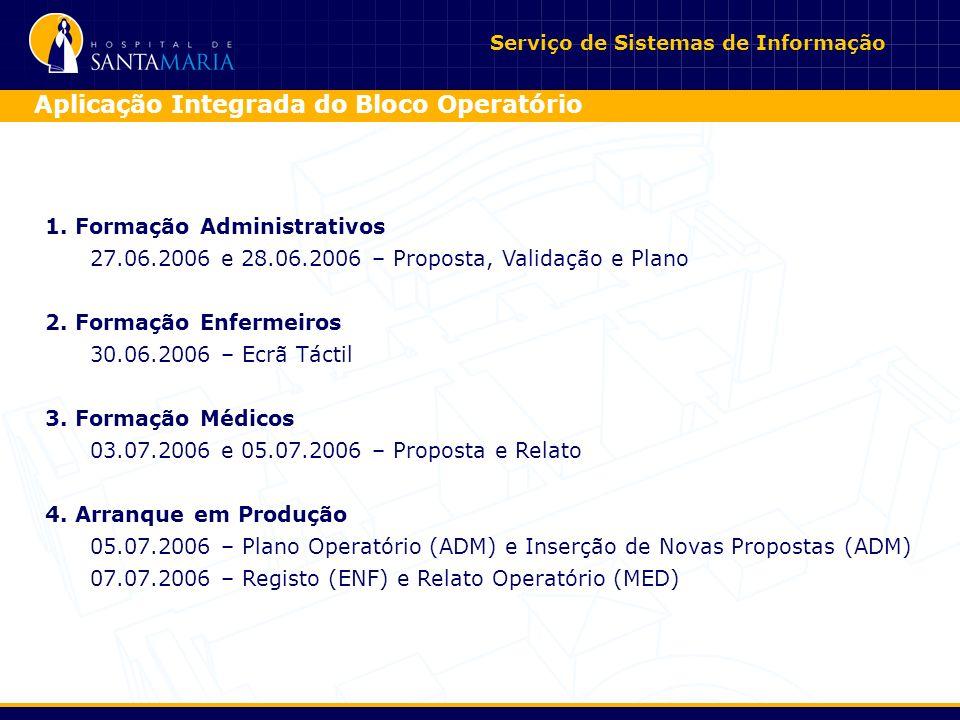 1.Formação Administrativos 27.06.2006 e 28.06.2006 – Proposta, Validação e Plano 2.