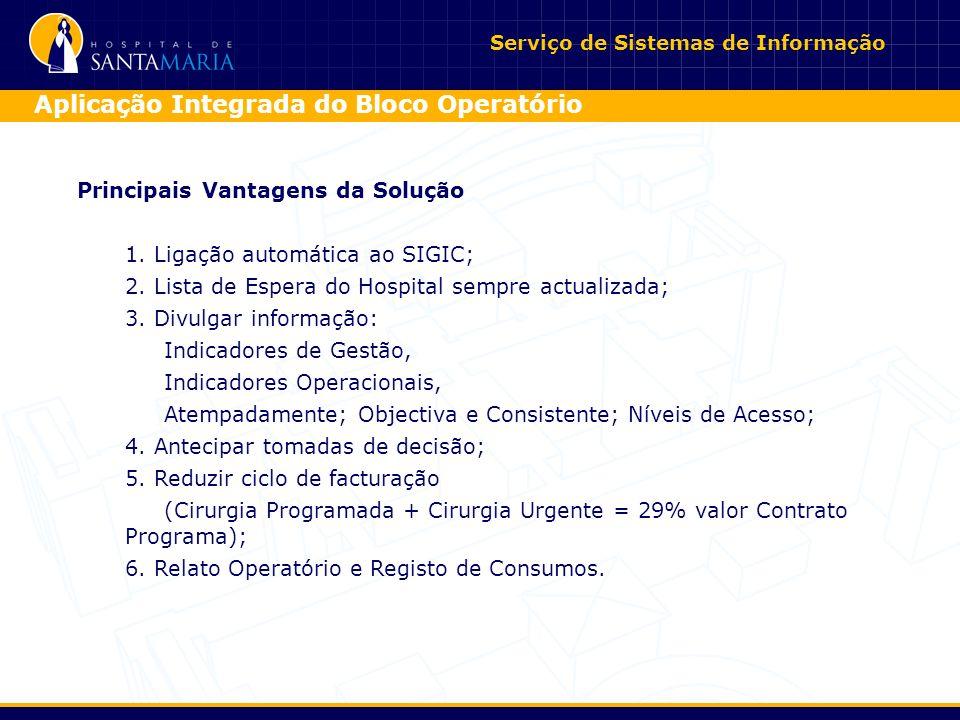 Serviço de Sistemas de Informação Aplicação Integrada do Bloco Operatório Principais Vantagens da Solução 1.