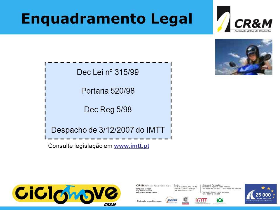 Enquadramento Legal Dec Lei nº 315/99 Portaria 520/98 Dec Reg 5/98 Despacho de 3/12/2007 do IMTT Consulte legislação em www.imtt.pt