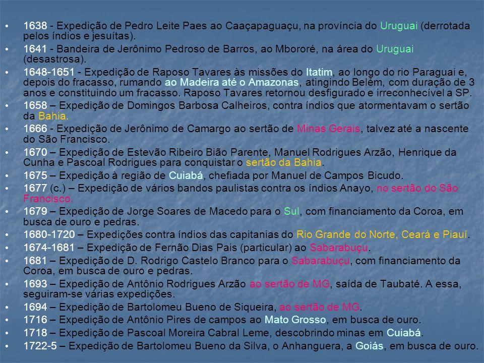 1638 - Expedição de Pedro Leite Paes ao Caaçapaguaçu, na província do Uruguai (derrotada pelos índios e jesuítas). 1641 - Bandeira de Jerônimo Pedroso