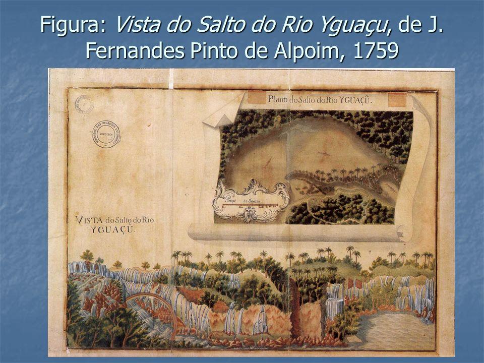 Figura: Vista do Salto do Rio Yguaçu, de J. Fernandes Pinto de Alpoim, 1759