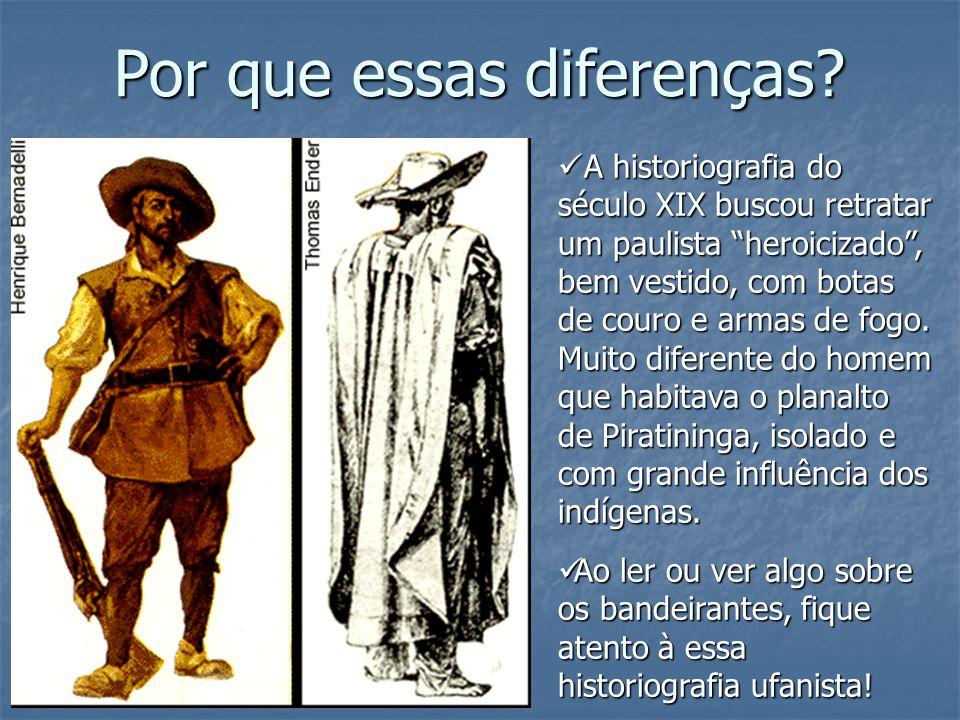 A historiografia do século XIX buscou retratar um paulista heroicizado, bem vestido, com botas de couro e armas de fogo. Muito diferente do homem que