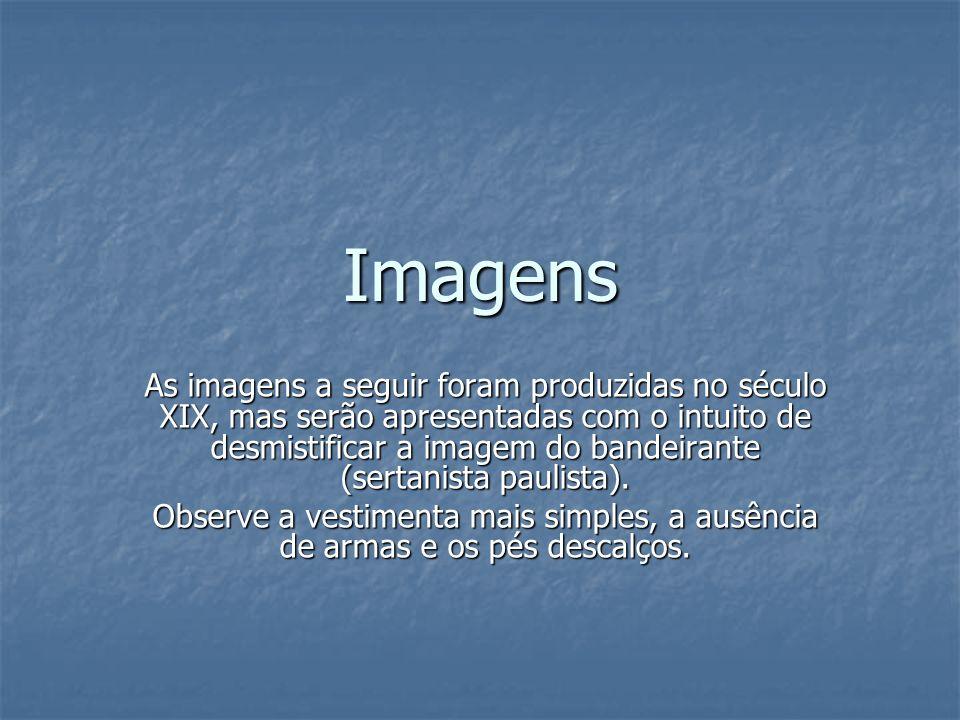 Imagens As imagens a seguir foram produzidas no século XIX, mas serão apresentadas com o intuito de desmistificar a imagem do bandeirante (sertanista