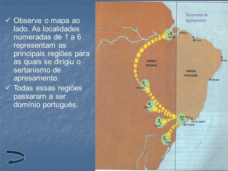 Observe o mapa ao lado. As localidades numeradas de 1 a 6 representam as principais regiões para as quais se dirigiu o sertanismo de apresamento. Toda