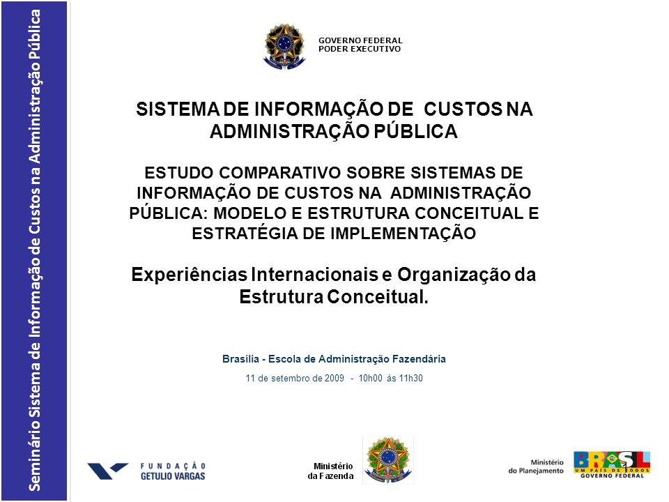 Brasília - Escola de Administração Fazendária 11 de setembro de 2009 - 10h00 às 11h30 GOVERNO FEDERAL PODER EXECUTIVO Seminário Sistema de Informação