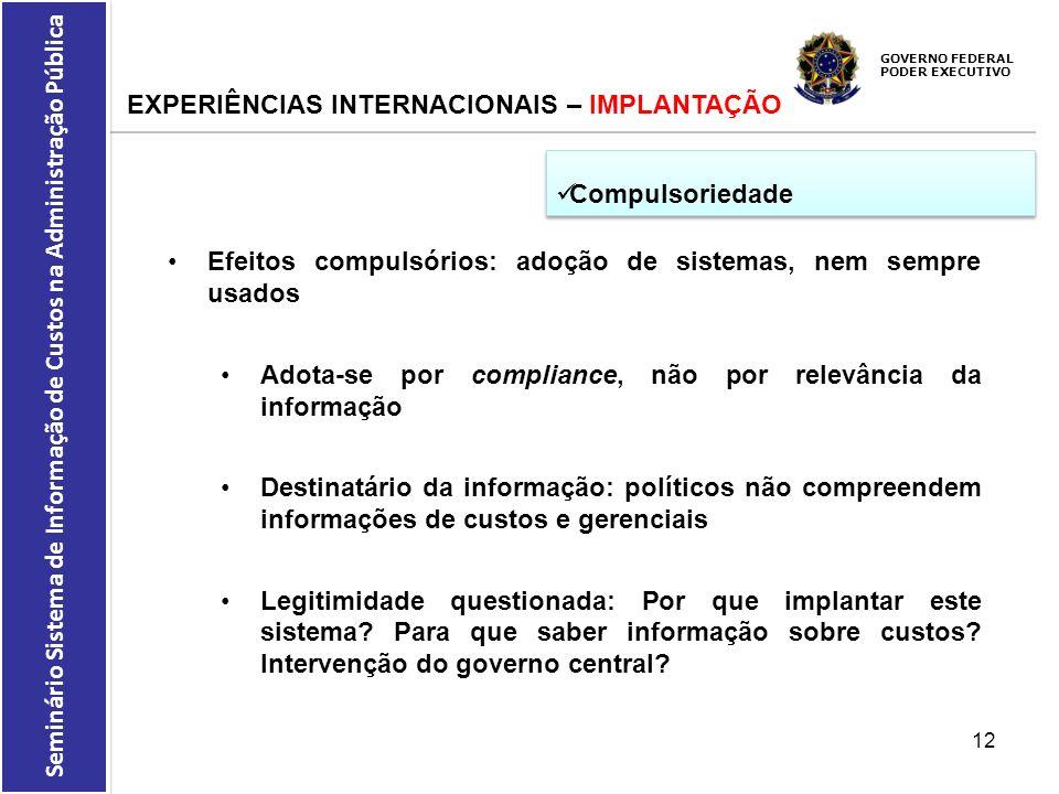 GOVERNO FEDERAL PODER EXECUTIVO Seminário Sistema de Informação de Custos na Administração Pública EXPERIÊNCIAS INTERNACIONAIS – IMPLANTAÇÃO Compulsor