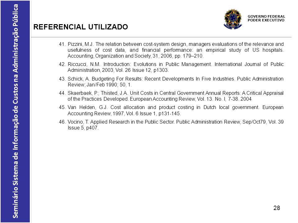GOVERNO FEDERAL PODER EXECUTIVO Seminário Sistema de Informação de Custos na Administração Pública REFERENCIAL UTILIZADO 41.Pizzini, M.J. The relation