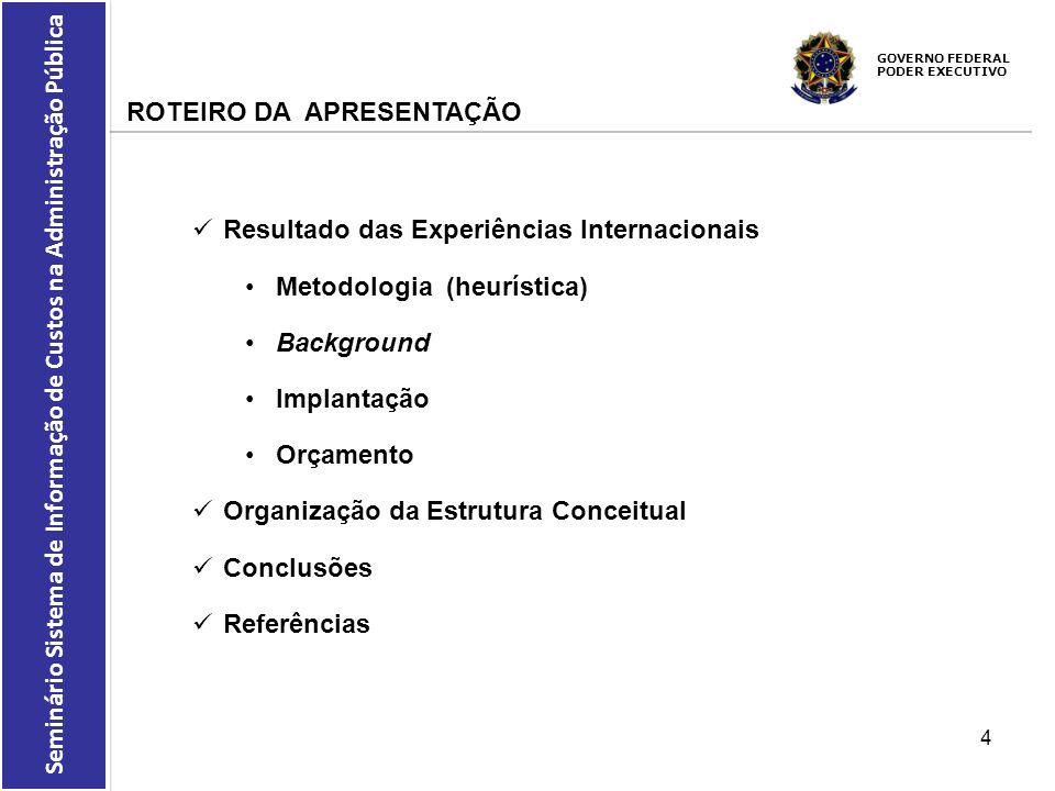 GOVERNO FEDERAL PODER EXECUTIVO Seminário Sistema de Informação de Custos na Administração Pública REFERENCIAL UTILIZADO 11.Brignall, S.S.; Modell, S.