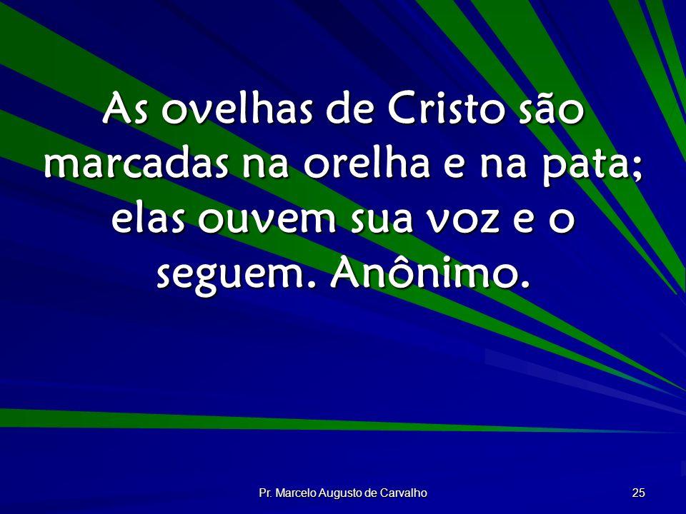 Pr. Marcelo Augusto de Carvalho 25 As ovelhas de Cristo são marcadas na orelha e na pata; elas ouvem sua voz e o seguem. Anônimo.