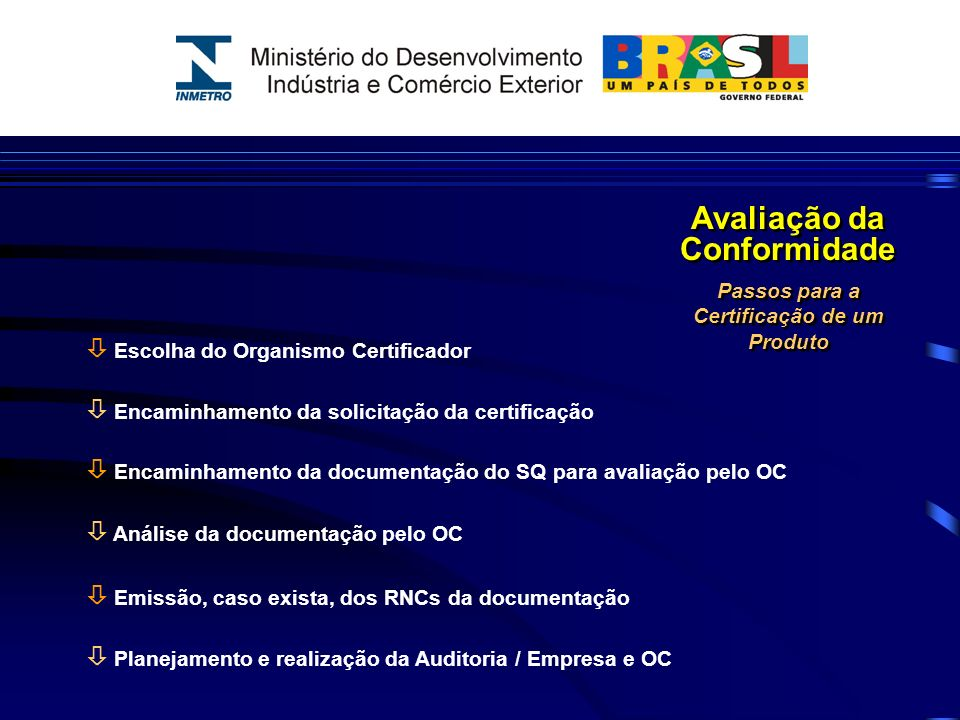 Escolha do Organismo Certificador Encaminhamento da solicitação da certificação Encaminhamento da documentação do SQ para avaliação pelo OC Análise da