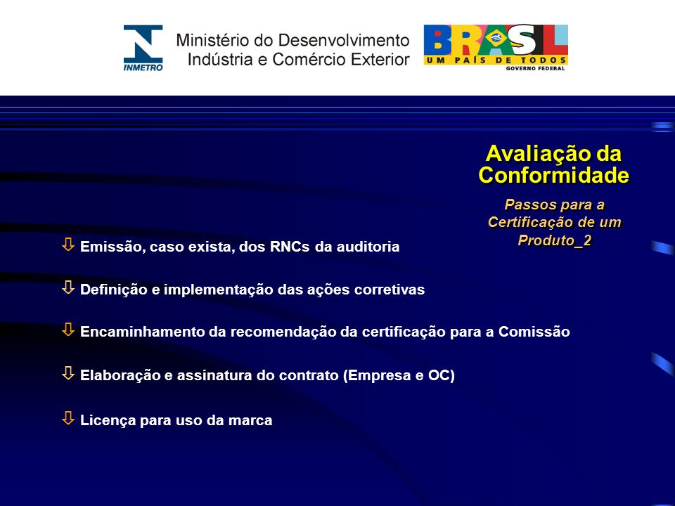 ò Produtos Certificados Compulsoriamente 64 ò Produtos Certificados Voluntariamente 210 ò Nº de Certificados ISO 9000 (dentro do SBAC) ± 7 mil ò Nº de Certificados ISO 14000 (dentro do SBAC) ± 600 Avaliação da Conformidade Indicadores da Certificação