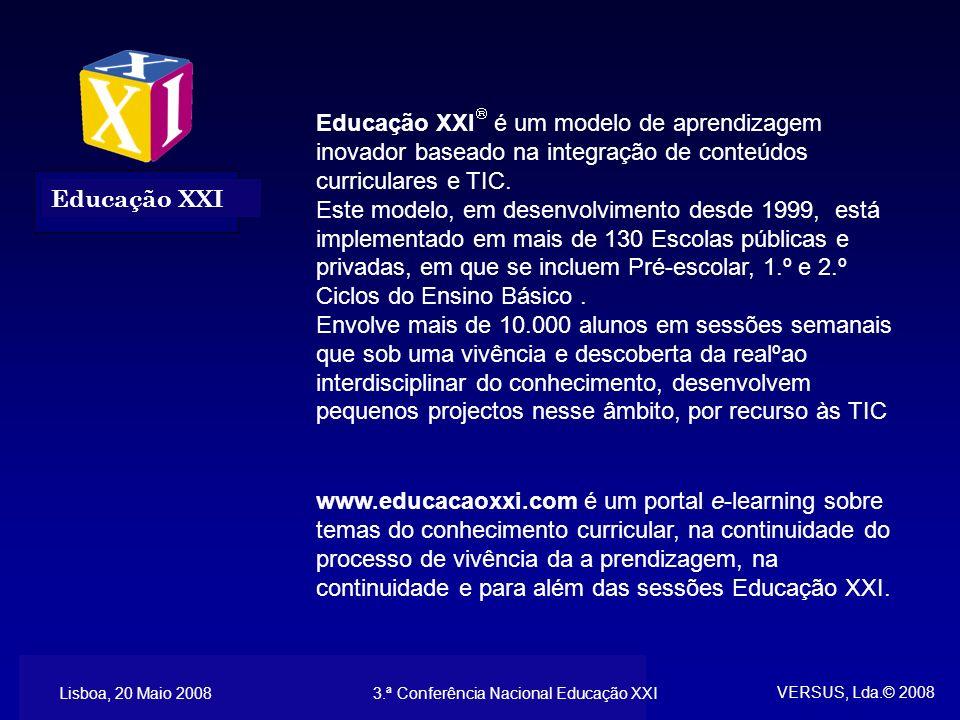 Lisboa, 30 Maio 20083.ª Conferência Nacional Educação XXI Educação XXI é um modelo de aprendizagem inovador baseado na integração de conteúdos curriculares e TIC.