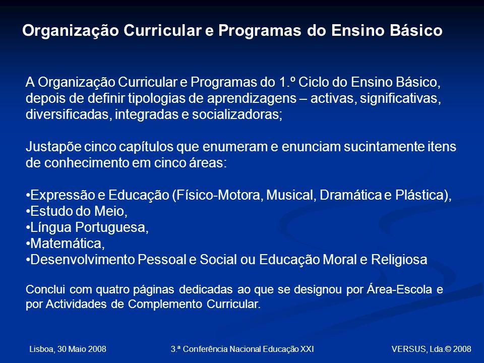 Lisboa, 30 Maio 2008 3.ª Conferência Nacional Educação XXI VERSUS, Lda.© 2008