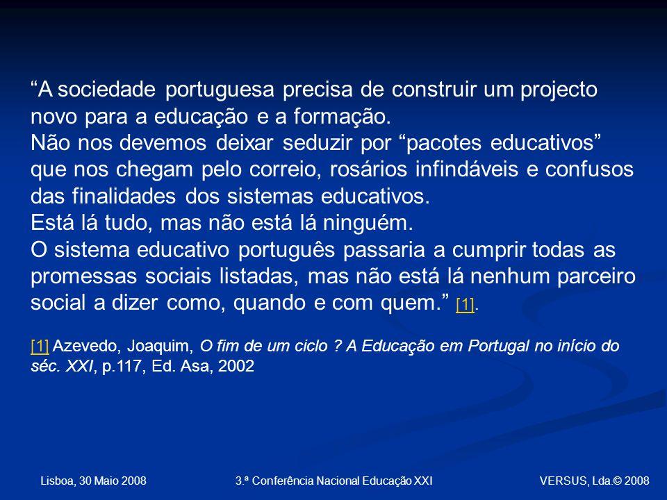 Lisboa, 30 Maio 2008 3.ª Conferência Nacional Educação XXI A sociedade portuguesa precisa de construir um projecto novo para a educação e a formação.