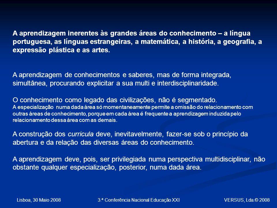 Lisboa, 30 Maio 2008 3.ª Conferência Nacional Educação XXI A aprendizagem inerentes às grandes áreas do conhecimento – a língua portuguesa, as línguas estrangeiras, a matemática, a história, a geografia, a expressão plástica e as artes.