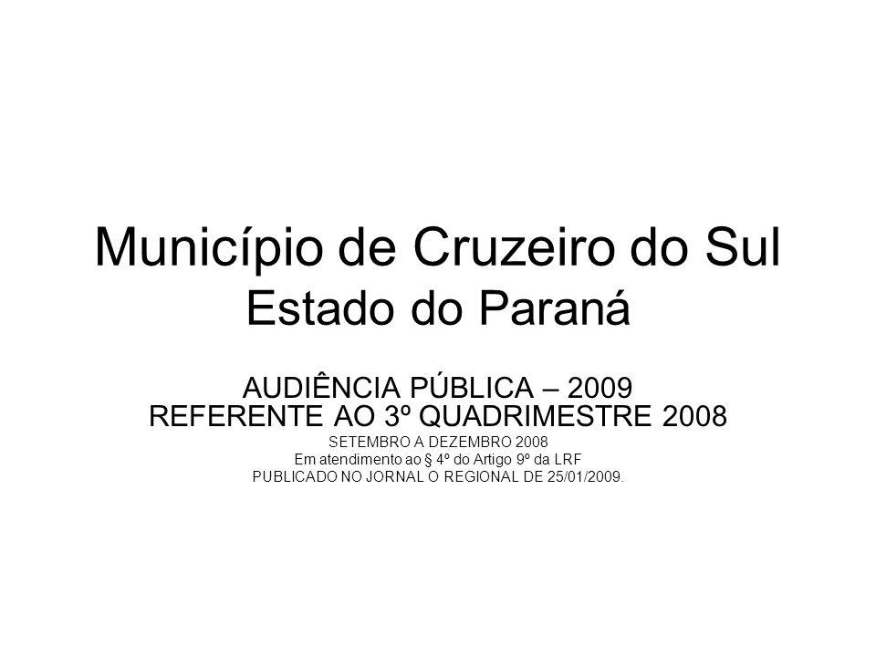 Município de Cruzeiro do Sul Estado do Paraná AUDIÊNCIA PÚBLICA – 2009 REFERENTE AO 3º QUADRIMESTRE 2008 SETEMBRO A DEZEMBRO 2008 Em atendimento ao § 4º do Artigo 9º da LRF PUBLICADO NO JORNAL O REGIONAL DE 25/01/2009.