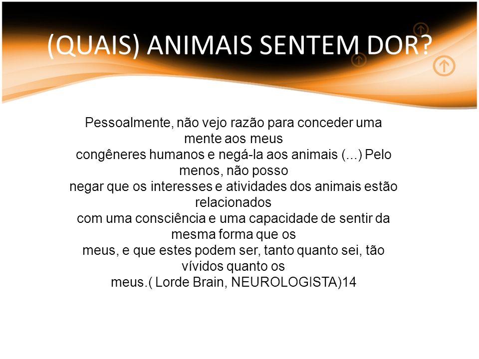 (QUAIS) ANIMAIS SENTEM DOR? Pessoalmente, não vejo razão para conceder uma mente aos meus congêneres humanos e negá-la aos animais (...) Pelo menos, n
