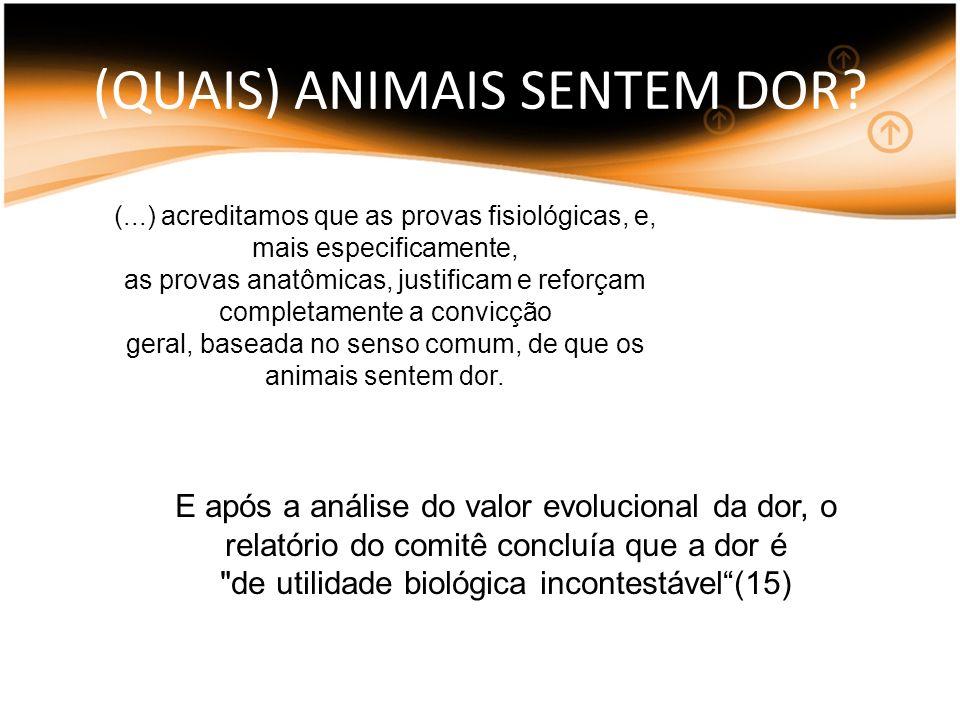 (QUAIS) ANIMAIS SENTEM DOR? E após a análise do valor evolucional da dor, o relatório do comitê concluía que a dor é