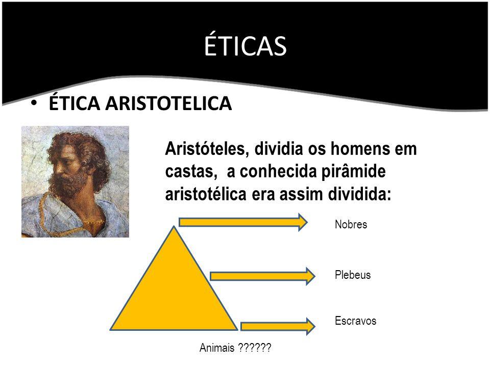 ÉTICAS ÉTICA ARISTOTELICA Aristóteles, dividia os homens em castas, a conhecida pirâmide aristotélica era assim dividida: Nobres Plebeus Escravos Anim