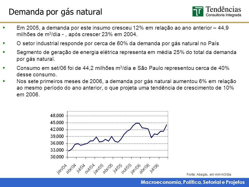 Macroeconomia, Política, Setorial e Projetos Demanda por gás natural Em 2005, a demanda por este insumo cresceu 12% em relação ao ano anterior – 44,9