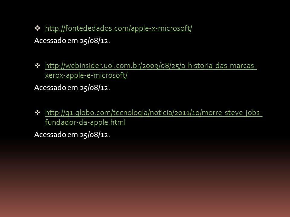 http://fontededados.com/apple-x-microsoft/ Acessado em 25/08/12. http://webinsider.uol.com.br/2009/08/25/a-historia-das-marcas- xerox-apple-e-microsof