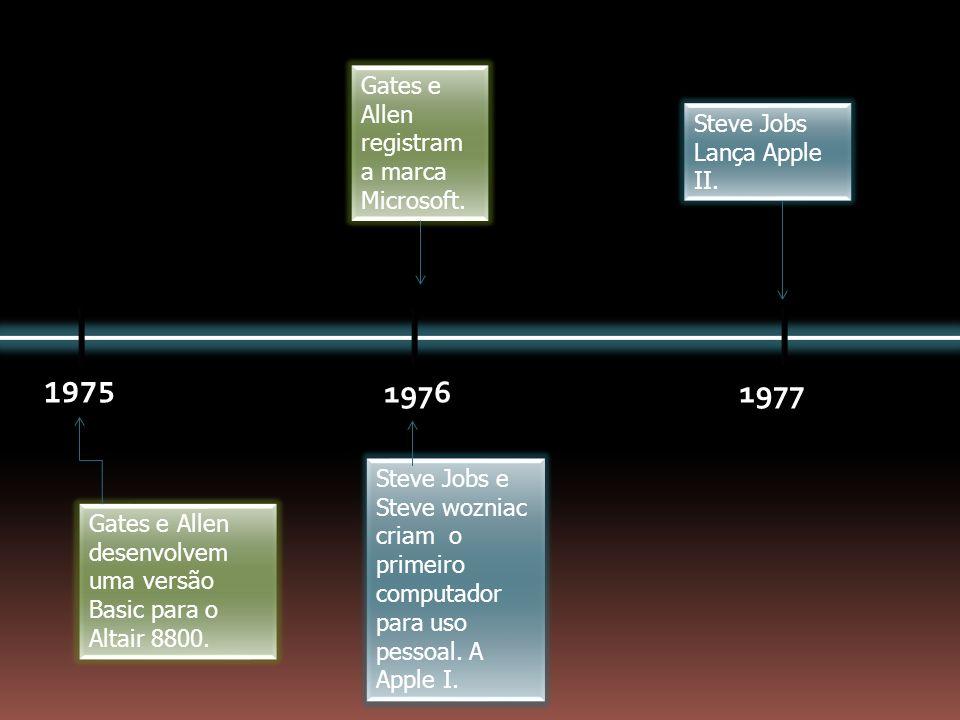 1975 19761977 Gates e Allen desenvolvem uma versão Basic para o Altair 8800. Gates e Allen registram a marca Microsoft. Steve Jobs e Steve wozniac cri