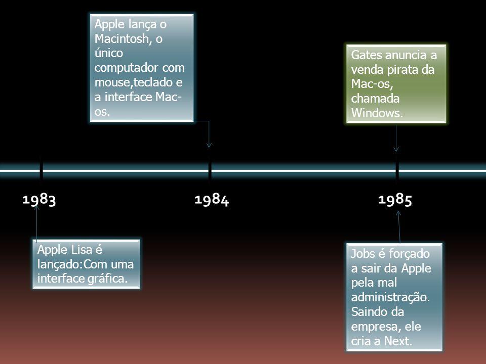 198319841985 Apple Lisa é lançado:Com uma interface gráfica. Apple lança o Macintosh, o único computador com mouse,teclado e a interface Mac- os. Jobs