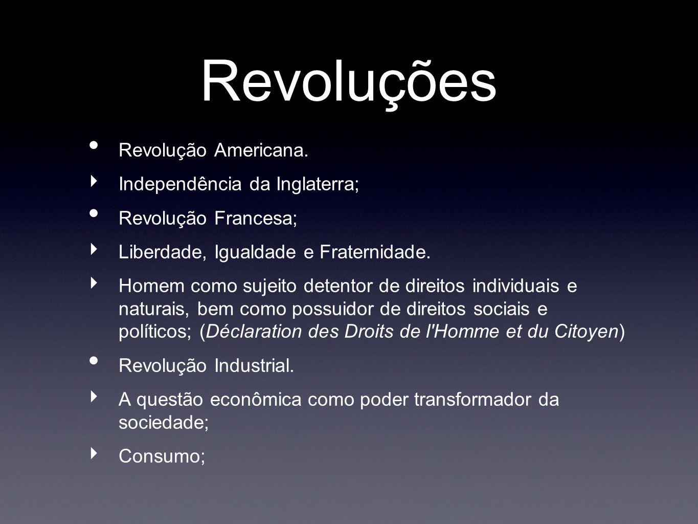 Revoluções Revolução Americana. Independência da Inglaterra; Revolução Francesa; Liberdade, Igualdade e Fraternidade. Homem como sujeito detentor de d