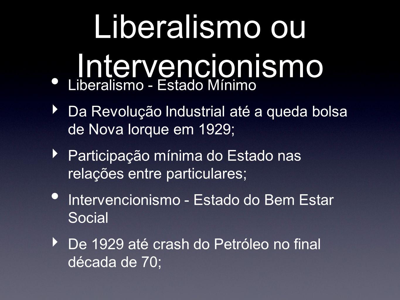 Liberalismo ou Intervencionismo Liberalismo - Estado Mínimo Da Revolução Industrial até a queda bolsa de Nova Iorque em 1929; Participação mínima do Estado nas relações entre particulares; Intervencionismo - Estado do Bem Estar Social De 1929 até crash do Petróleo no final década de 70;