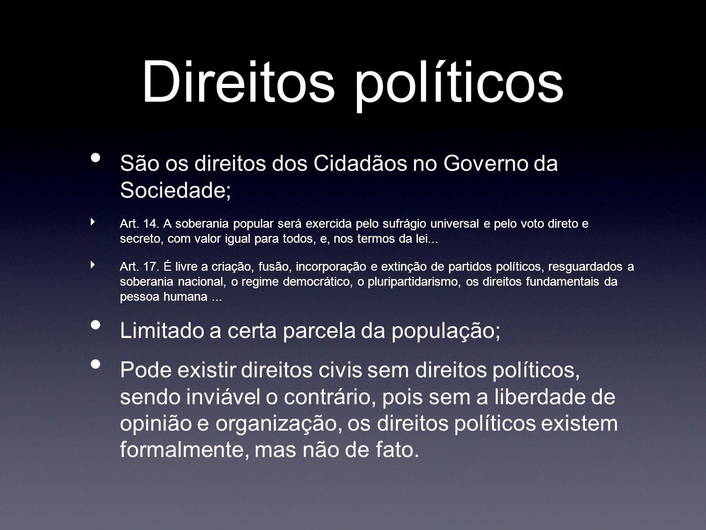 Direitos políticos São os direitos dos Cidadãos no Governo da Sociedade; Art. 14. A soberania popular será exercida pelo sufrágio universal e pelo vot