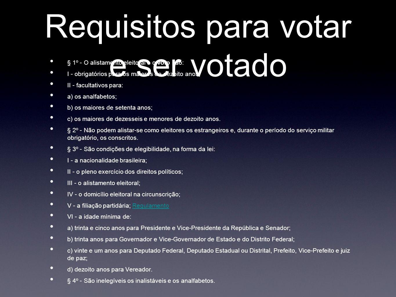 Requisitos para votar e ser votado § 1º - O alistamento eleitoral e o voto são: I - obrigatórios para os maiores de dezoito anos; II - facultativos para: a) os analfabetos; b) os maiores de setenta anos; c) os maiores de dezesseis e menores de dezoito anos.