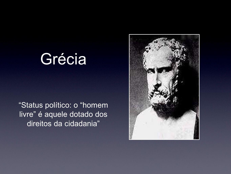 Grécia Status político: o homem livre é aquele dotado dos direitos da cidadania