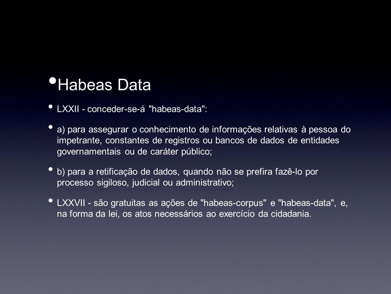 Habeas Data LXXII - conceder-se-á