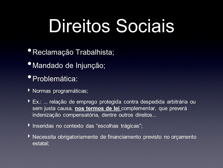 Direitos Sociais Reclamação Trabalhista; Mandado de Injunção; Problemática: Normas programáticas; Ex.:... relação de emprego protegida contra despedid
