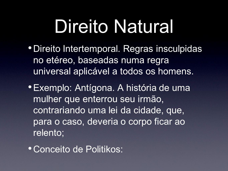 Direito Natural Direito Intertemporal. Regras insculpidas no etéreo, baseadas numa regra universal aplicável a todos os homens. Exemplo: Antígona. A h
