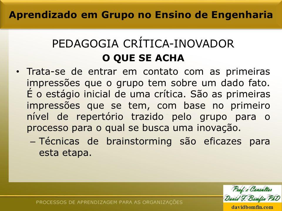 PEDAGOGIA CRÍTICA-INOVADOR O QUE SE ACHA Trata-se de entrar em contato com as primeiras impressões que o grupo tem sobre um dado fato.