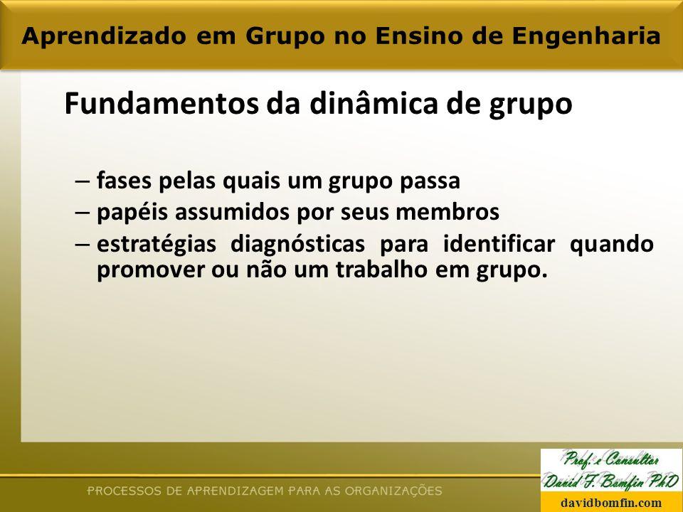 Fundamentos da dinâmica de grupo – fases pelas quais um grupo passa – papéis assumidos por seus membros – estratégias diagnósticas para identificar quando promover ou não um trabalho em grupo.