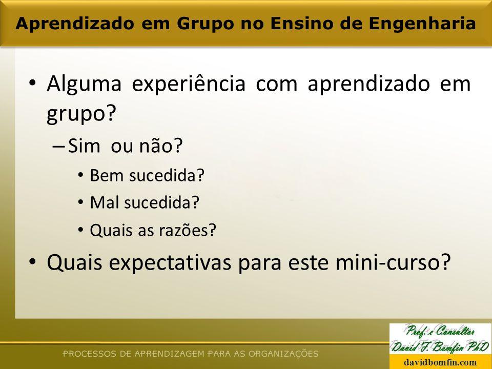 Aprendizado em Grupo no Ensino de Engenharia Alguma experiência com aprendizado em grupo.
