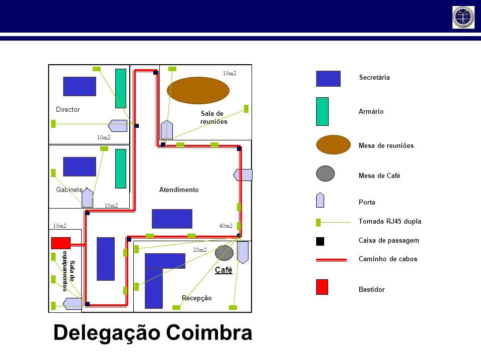 Gabinete 1 Director Sala de reuniões Café Recepção Atendimento Sala de equipamentos 10m2 40m2 10m2 20m2 Secretária Armário Mesa de reuniões Mesa de Ca
