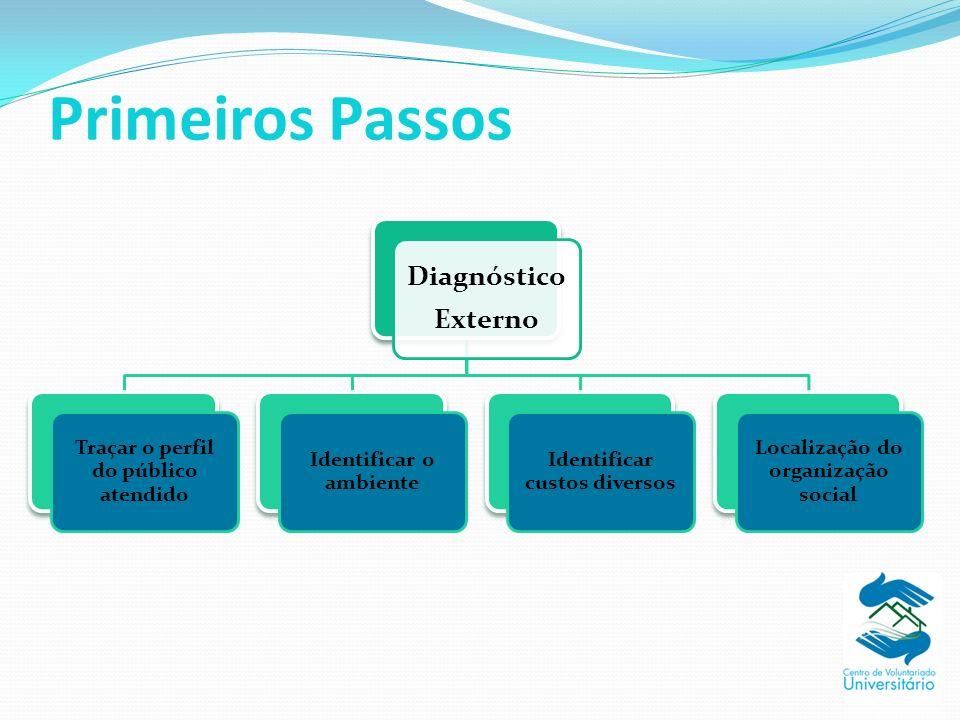 Primeiros Passos Diagnóstico Externo Traçar o perfil do público atendido Identificar o ambiente Identificar custos diversos Localização do organização social