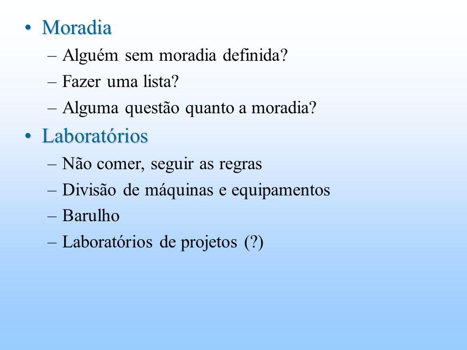 MoradiaMoradia –Alguém sem moradia definida. –Fazer uma lista.