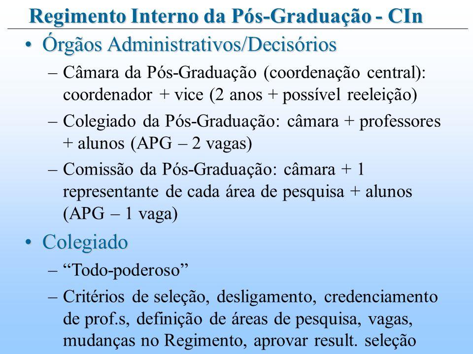 Órgãos Administrativos/DecisóriosÓrgãos Administrativos/Decisórios –Câmara da Pós-Graduação (coordenação central): coordenador + vice (2 anos + possível reeleição) –Colegiado da Pós-Graduação: câmara + professores + alunos (APG – 2 vagas) –Comissão da Pós-Graduação: câmara + 1 representante de cada área de pesquisa + alunos (APG – 1 vaga) ColegiadoColegiado –Todo-poderoso –Critérios de seleção, desligamento, credenciamento de prof.s, definição de áreas de pesquisa, vagas, mudanças no Regimento, aprovar result.