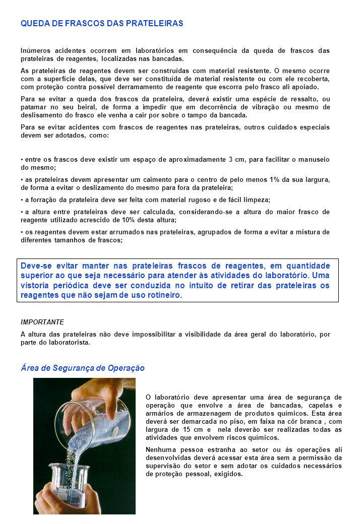 QUEDA DE FRASCOS DAS PRATELEIRAS Inúmeros acidentes ocorrem em laboratórios em consequência da queda de frascos das prateleiras de reagentes, localiza