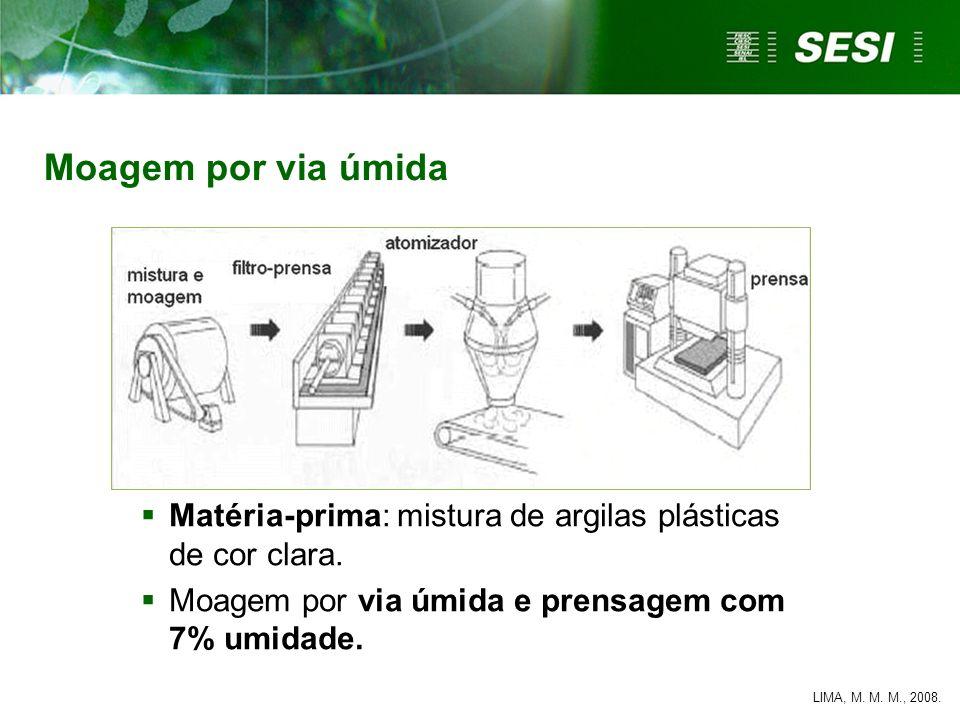 Matéria-prima: mistura de argilas plásticas de cor clara. Moagem por via úmida e prensagem com 7% umidade. LIMA, M. M. M., 2008. Moagem por via úmida