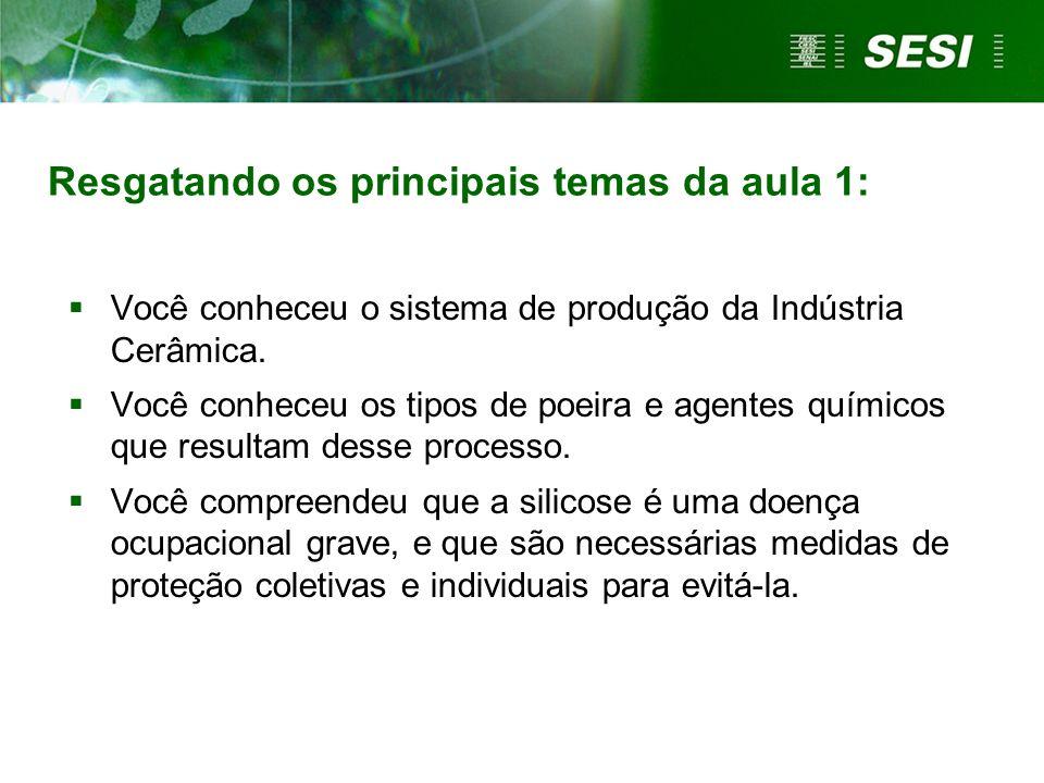 Resgatando os principais temas da aula 1: Você conheceu o sistema de produção da Indústria Cerâmica. Você conheceu os tipos de poeira e agentes químic