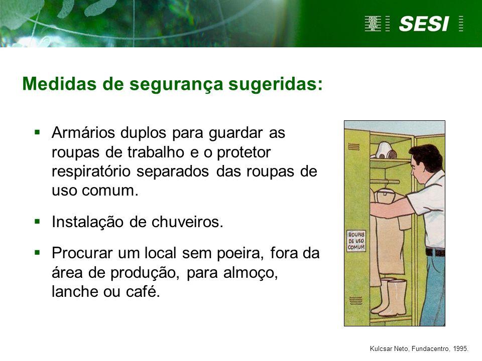 Armários duplos para guardar as roupas de trabalho e o protetor respiratório separados das roupas de uso comum. Instalação de chuveiros. Procurar um l