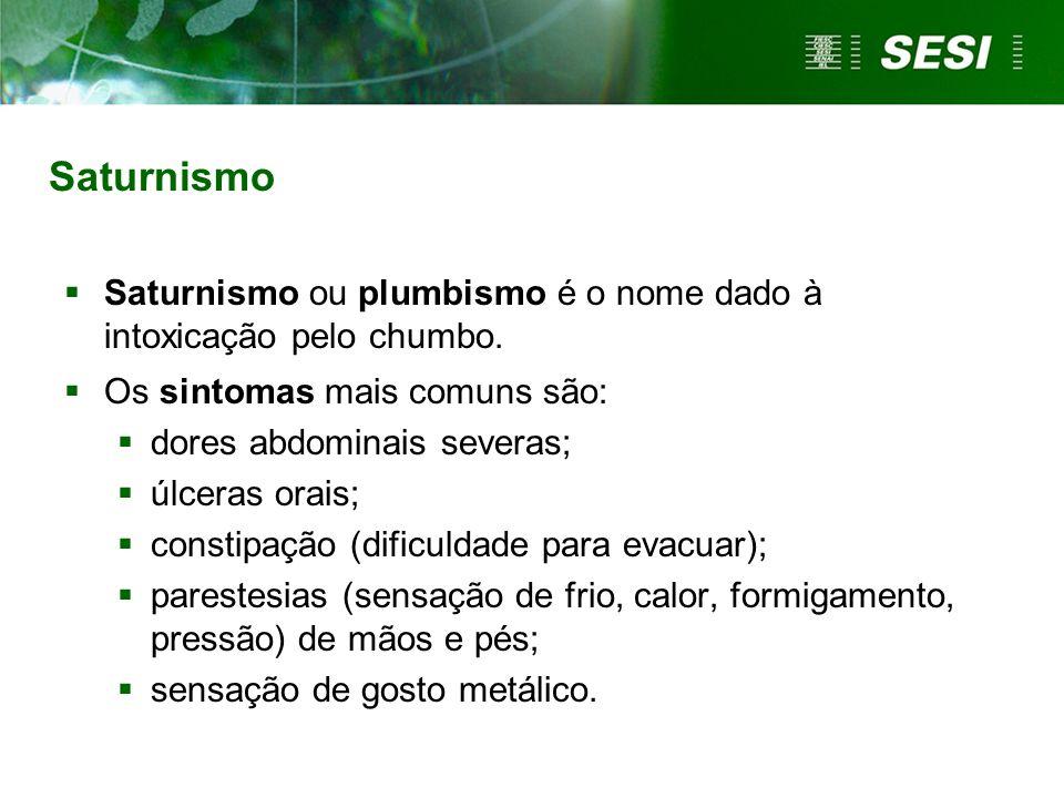 Saturnismo Saturnismo ou plumbismo é o nome dado à intoxicação pelo chumbo. Os sintomas mais comuns são: dores abdominais severas; úlceras orais; cons