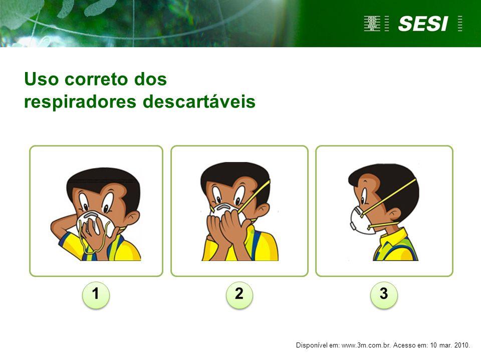 Uso correto dos respiradores descartáveis 123 Disponível em: www.3m.com.br. Acesso em: 10 mar. 2010.