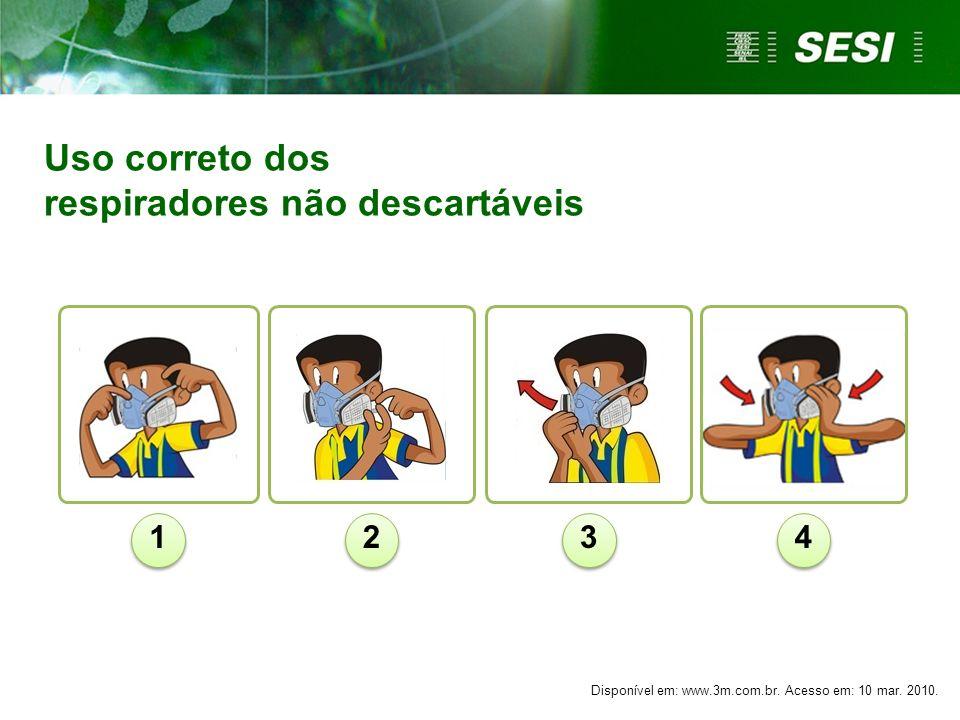 Uso correto dos respiradores não descartáveis 1234 Disponível em: www.3m.com.br. Acesso em: 10 mar. 2010.
